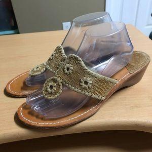 Jack Rogers Wedge Sandal Tan Leather 10